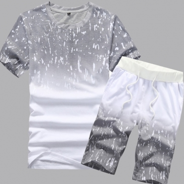 lovely Casual Gradual Change Print Grey Two-piece Shorts Set