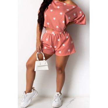 lovely Leisure O Neck Pentagram Print Pink Loungewear