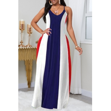 Lovely Casual Striped Print Blue Maxi Plus Size Dress