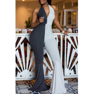 lovely Stylish Deep V Neck Patchwork Black And White One-piece Jumpsuit