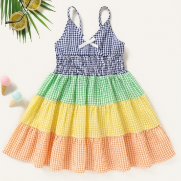 lovely Sweet Grid Print Patchwork Multicolor Girl Mid Calf Dress