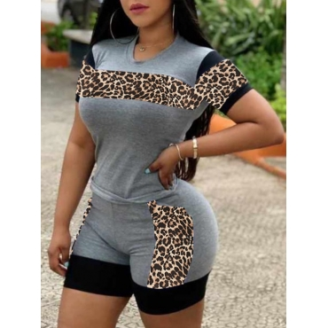 lovely Casual O Neck Print Patchwork Grey Two Piece Shorts Set