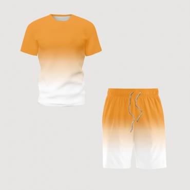 lovely Leisure O Neck Gradual Change White Two-piece Shorts Set