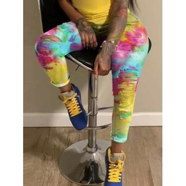 Lovely Street Tie-dye Broken Holes Multicolor Jean