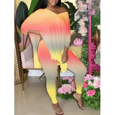 LW Plus Size V Neck Gradient Jacinth Pants Set