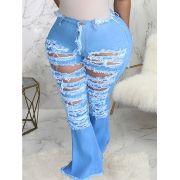 Lovely Street Broken Holes Baby Blue Plus Size Jea