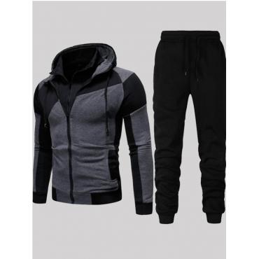 Lovely Sportswear Hooded Collar Patchwork Black Tw