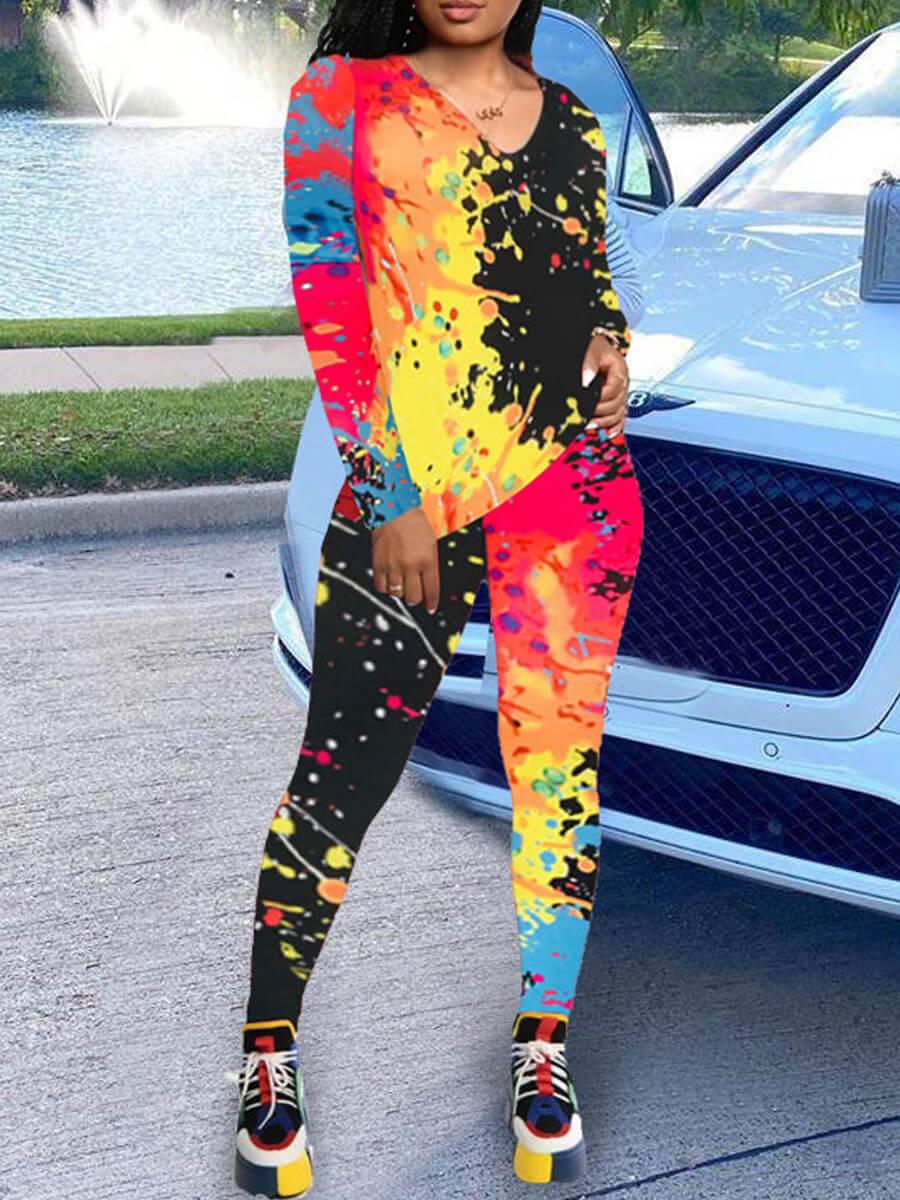 Two-piece Pants Set lovely Street O Neck Graffiti Print Multicolor Two Piece Pants Set фото