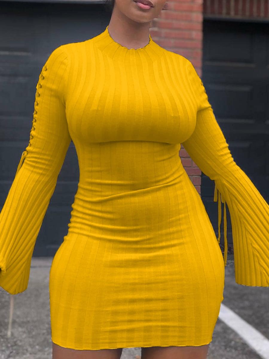 Lovely Trendy O Neck Striped Yellow Mini Dress фото
