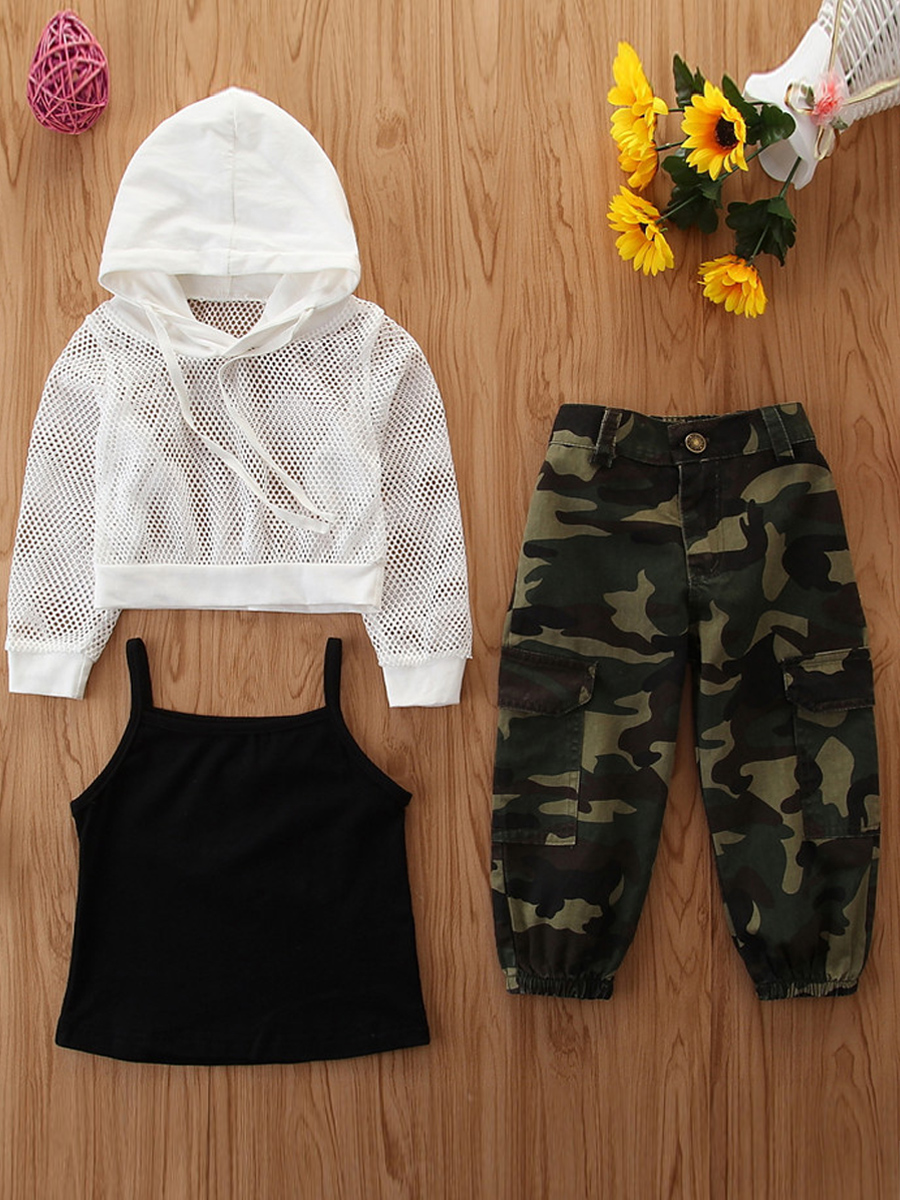 Girls Two-piece Pants Set lovely Casual Hooded Collar Camo Print Girl Two-piece Pants Set фото