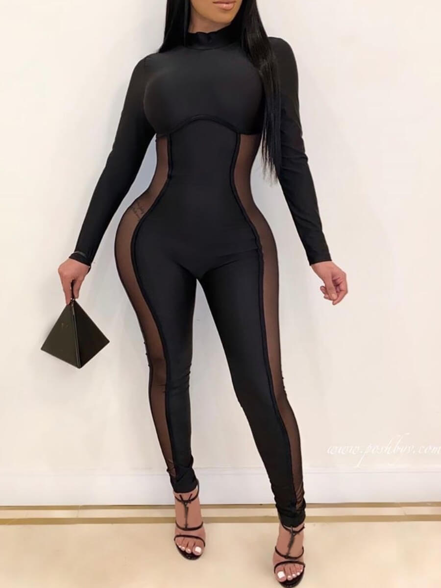 Lovely Sexy Patchwork See-through Black One-piece Jumpsuit фото