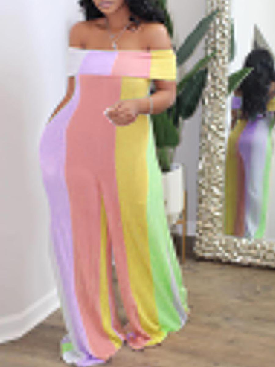 Plus Size Jumpsuit Lovely Trendy Dew Shoulder Striped Multicolor Plus Size One-piece Jumpsuit фото