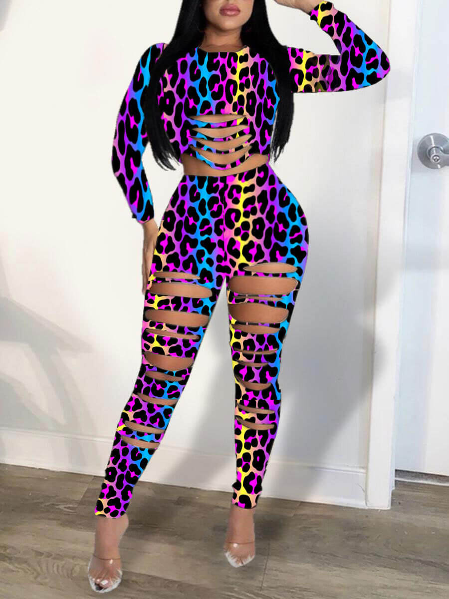 Two-piece Pants Set lovely Leisure O Neck Leopard Print Hollow-out Two Piece Pants Set фото