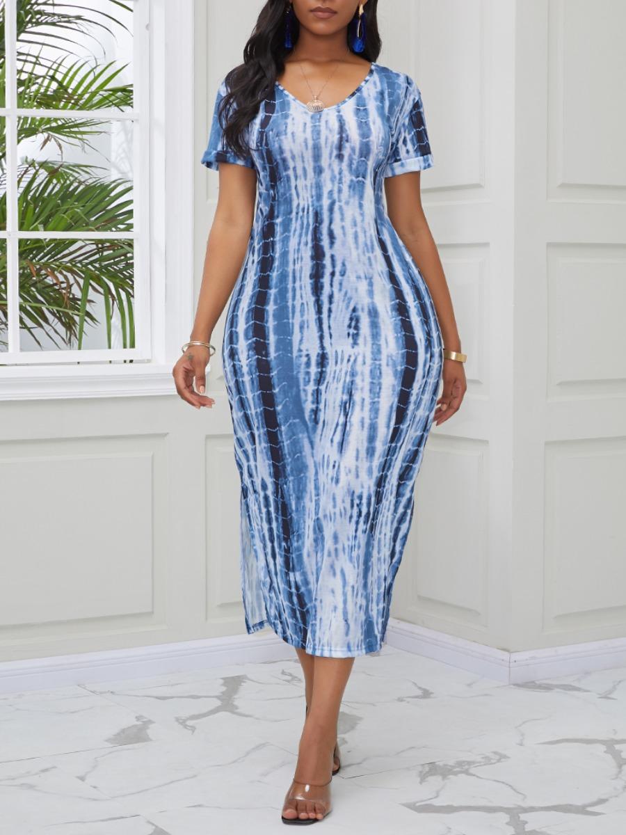 Lovely Casual V Neck Tie-dye Blue Mid Calf Dress фото