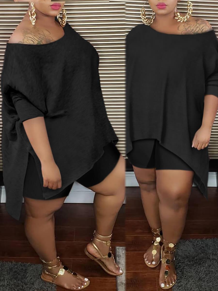 Lovely Casual Asymmetrical Black Plus Size Two-pie