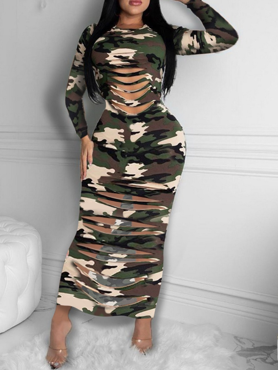 Lovely Casual O Neck Camo Print Army Green Ankle Length Dress фото