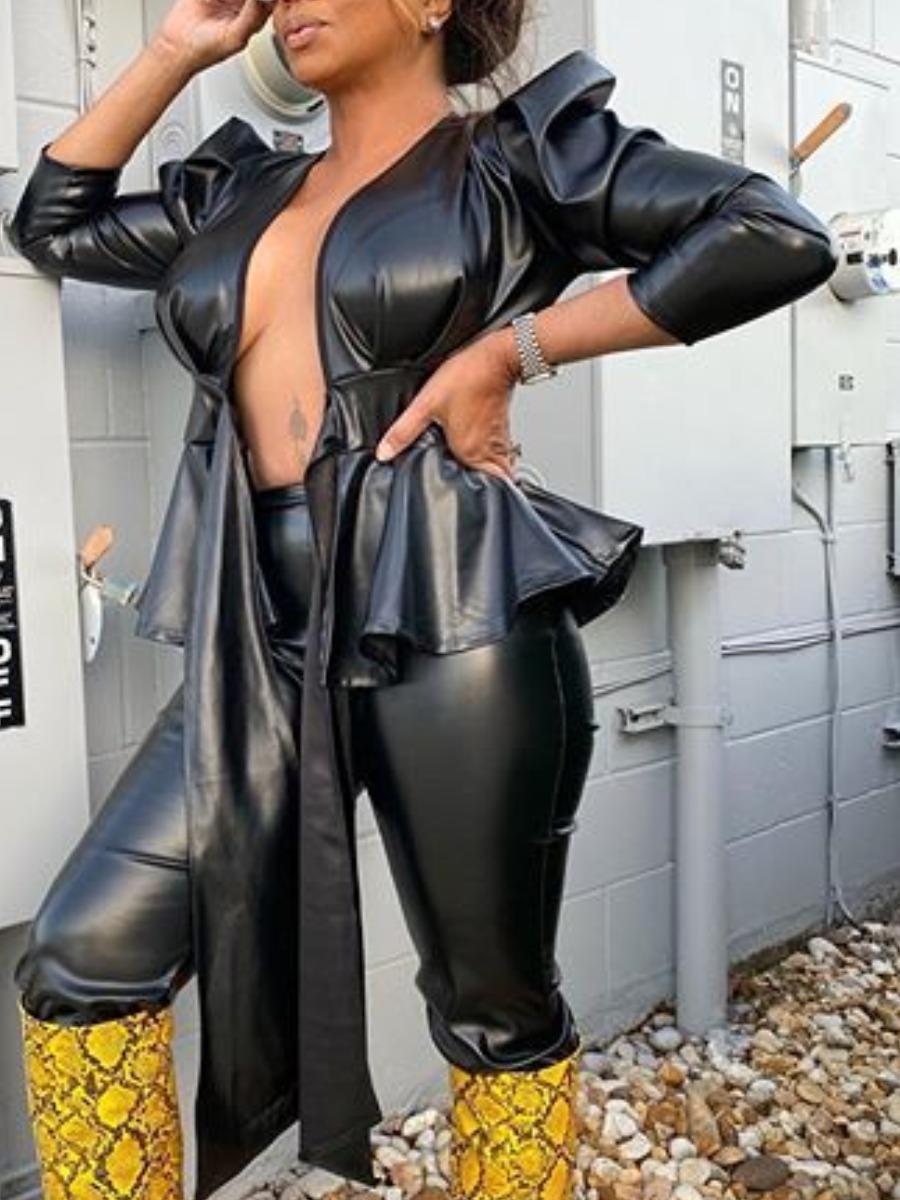 Coat&Jacket Lovely Sweet Flounce Design Lace-up Black Coat фото