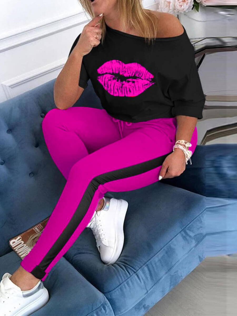 Lovely Casual O Neck Lip Print Patchwork Rose Red Plus Size Two-piece Pants Set фото