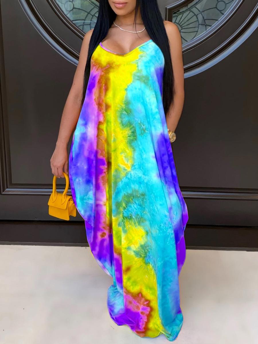 Lovely Bohemian Spaghetti Strap Tie-dye Yellow Maxi Dress фото