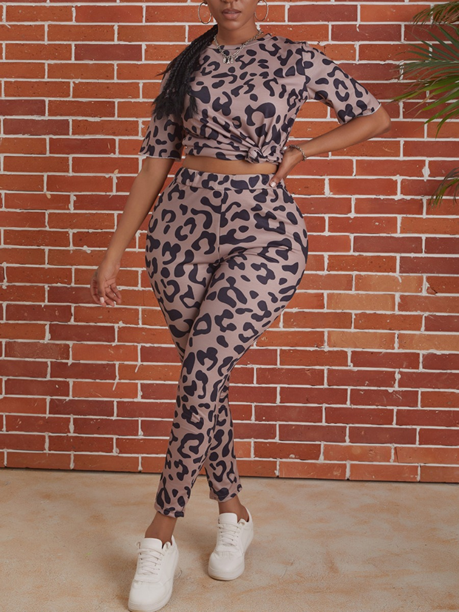 Two-piece Pants Set lovely Sportswear O Neck Leopard Print Two Piece Pants Set фото
