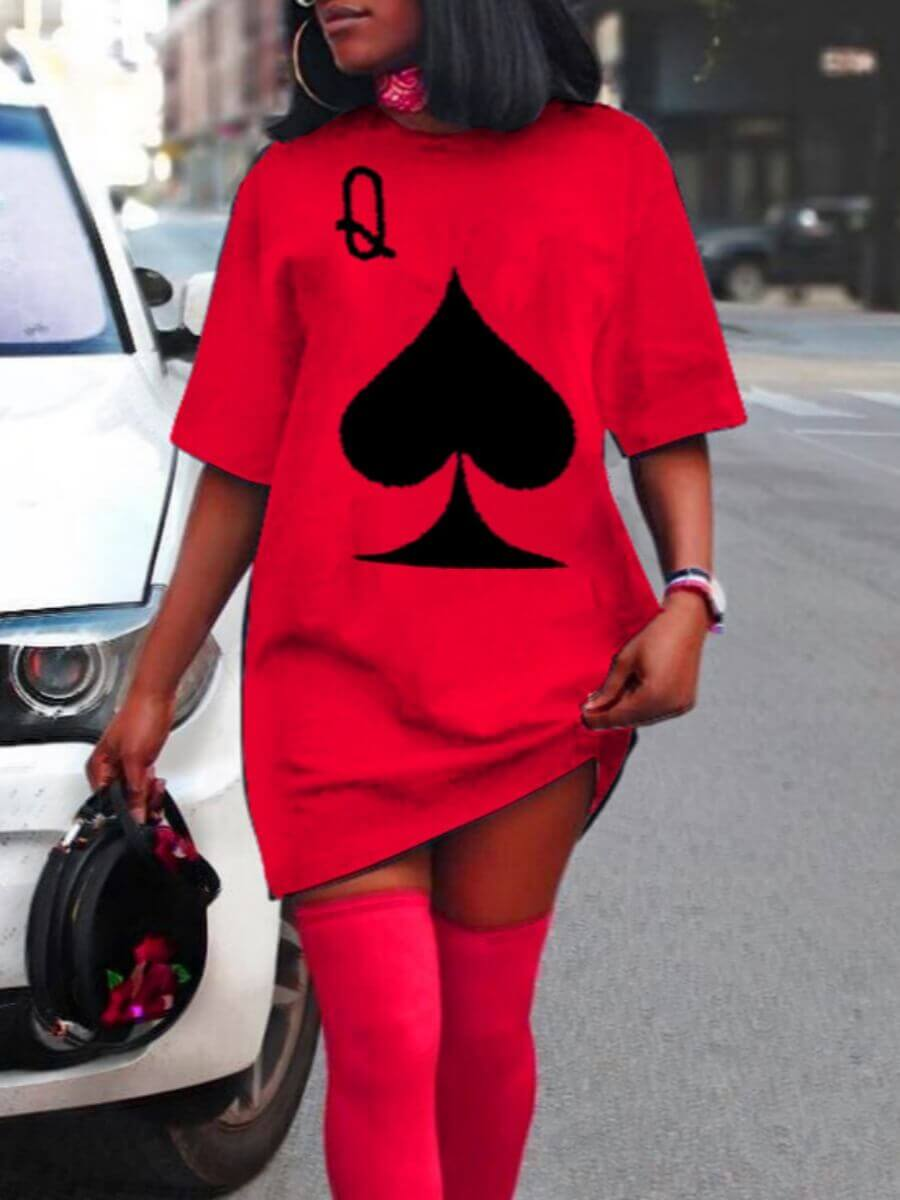 Lovely Casual O Neck Print Red Mini Dress фото