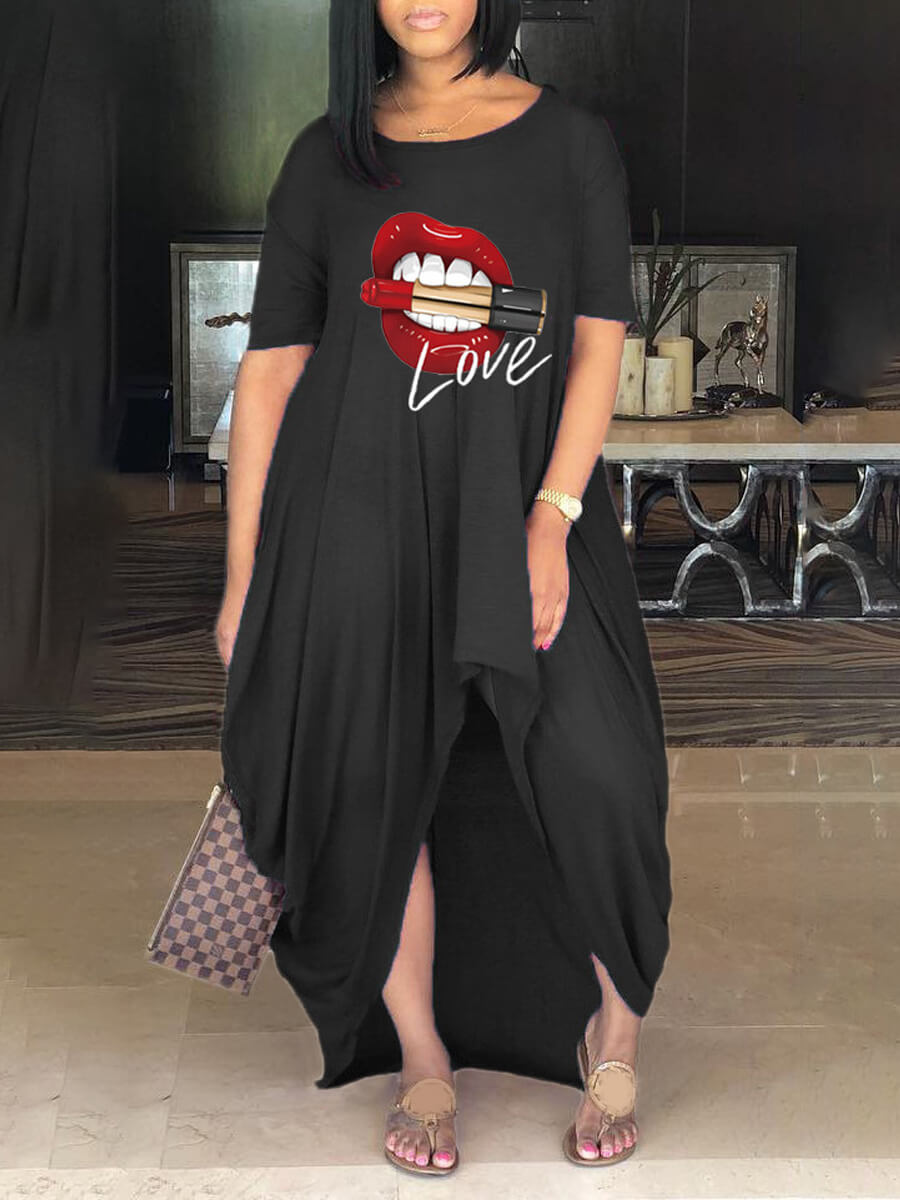 Lovely Casual O Neck Lip Print Black Ankle Length Dress фото