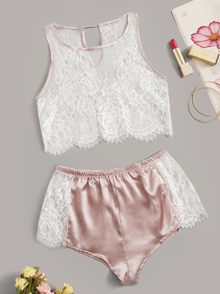 Lovely Sexy Lace Patchwork Light Pink Sleepwear фото