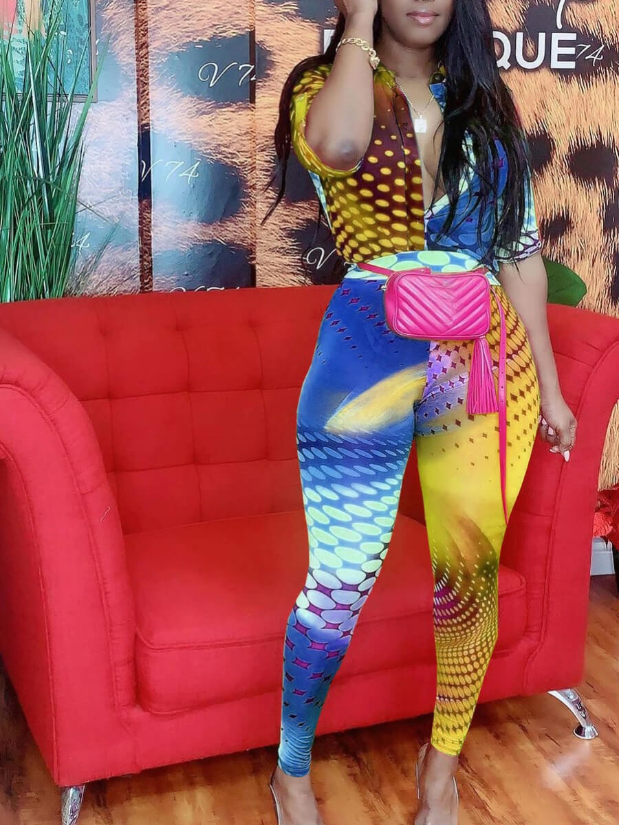 Lovely Trendy Print Patchwork Yellow One-piece Jumpsuit фото