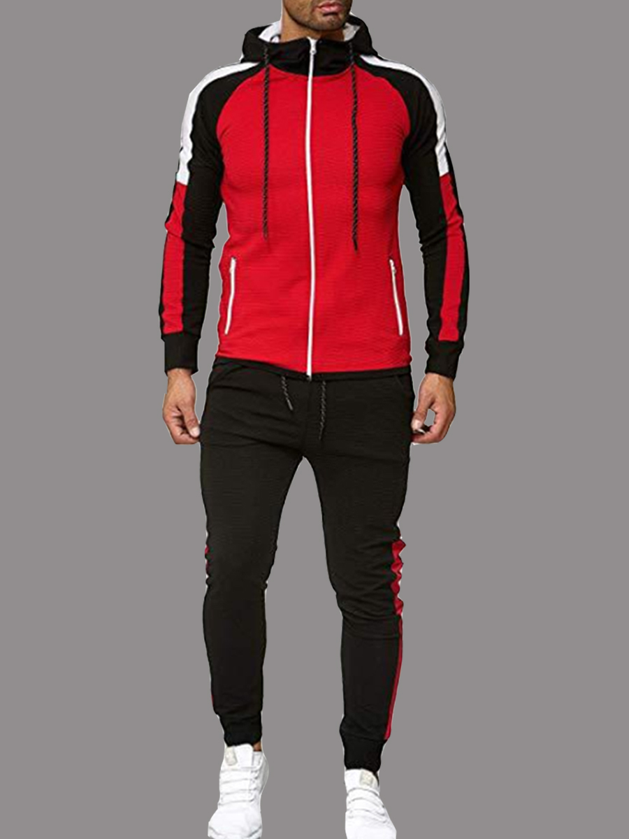 Men lovely Sportswear Hooded Collar Patchwork Red Men Two-piece Pants Set фото