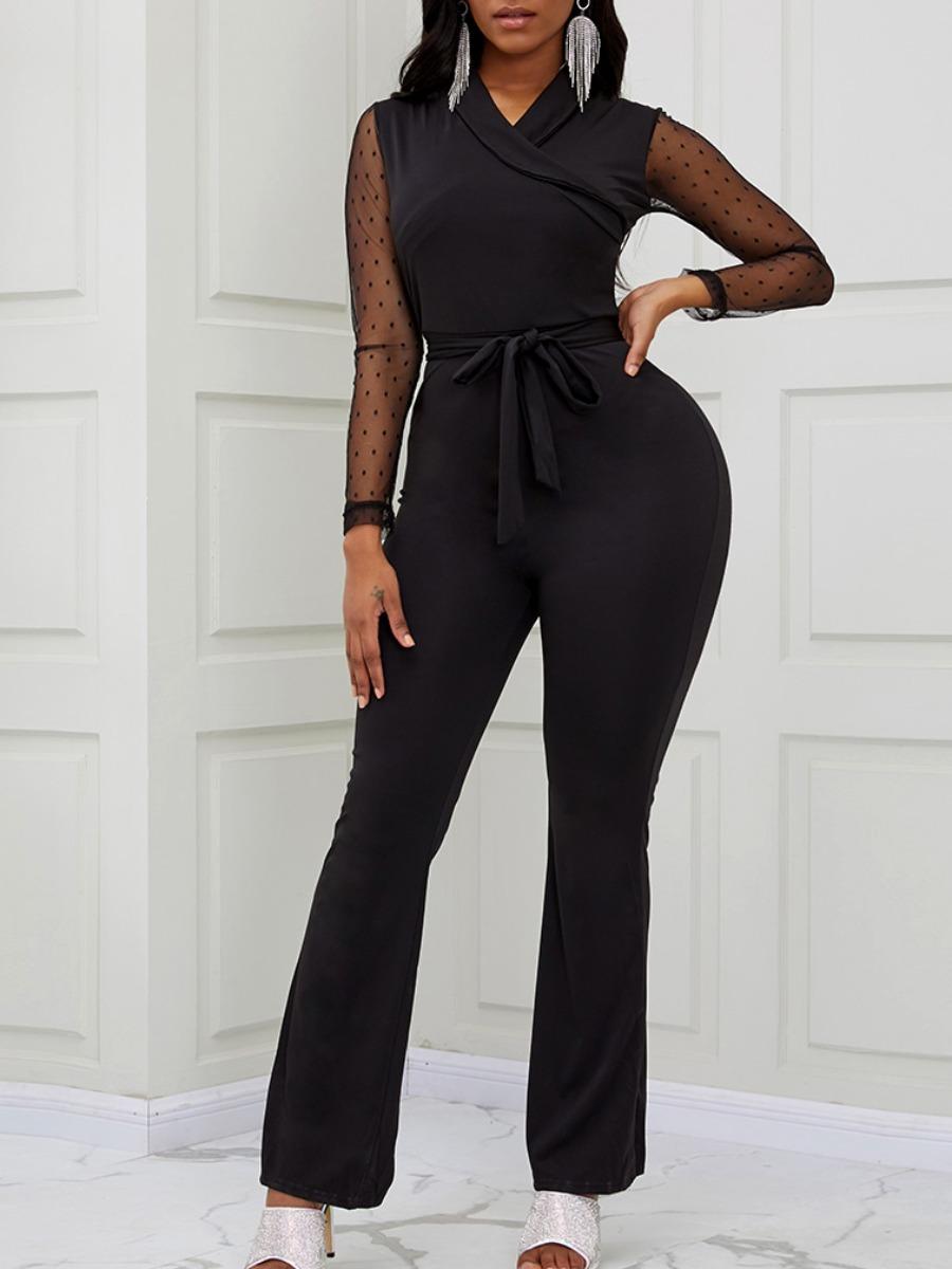 Lovely Trendy V Neck Patchwork Black One-piece Jumpsuit фото