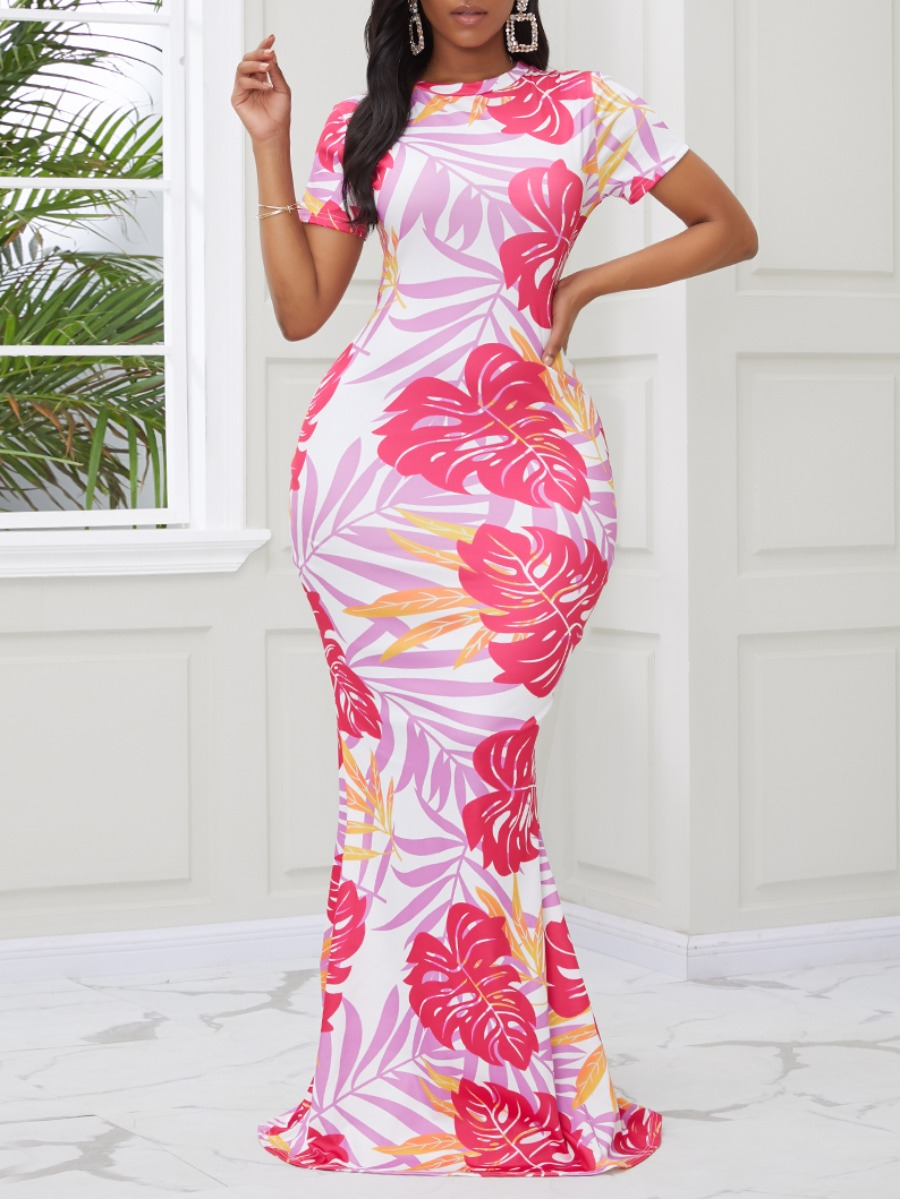 Lovely Casual O Neck Plants Print Pink Maxi Dress фото