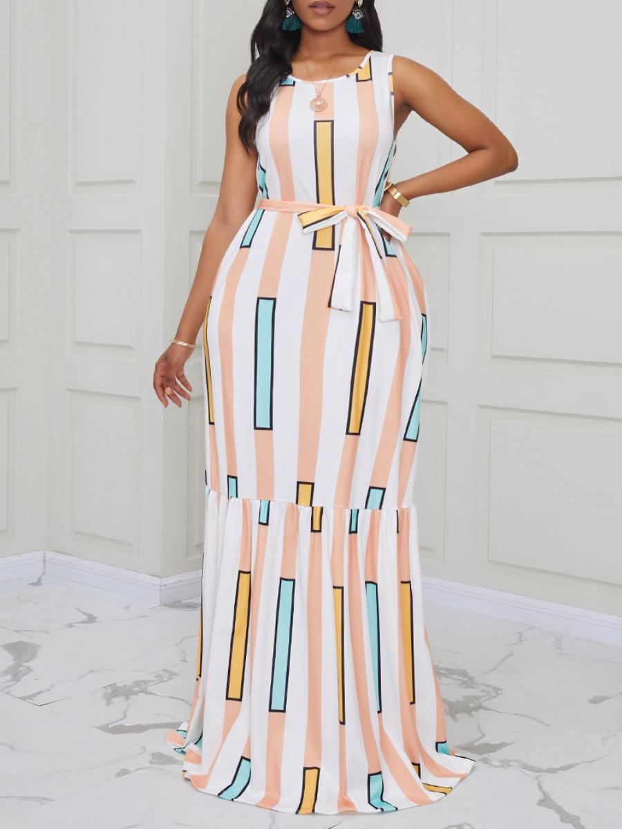 Lovely Trendy Sleeveless Striped Print White Maxi Dress фото