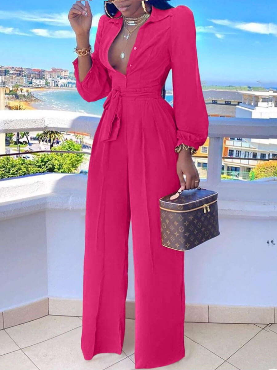 Lovely Stylish Turndown Collar Buttons Design Rose One-piece Jumpsuit фото