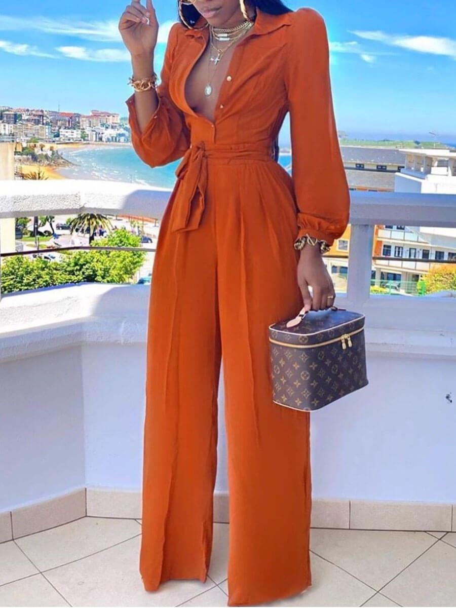Lovely Stylish Turndown Collar Buttons Design JacinthOne-piece Jumpsuit фото
