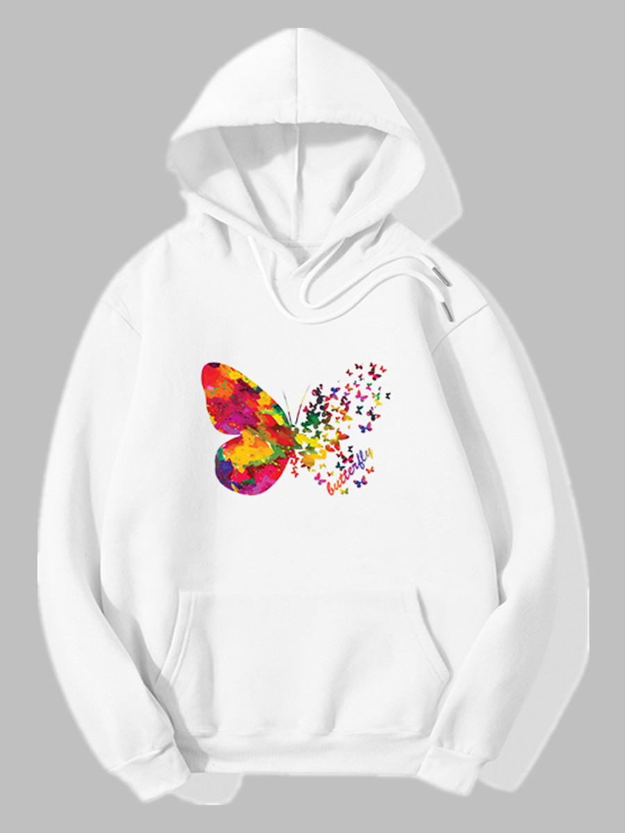 Hoodies lovely Sportswear Hooded Collar Butterfly Print White Hoodie фото