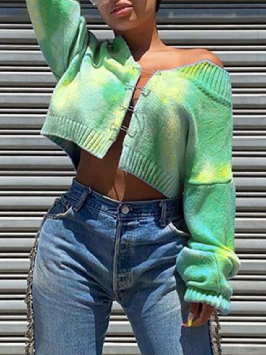 Sweaters & Cardigans lovely Street Tie-dye Green Sweater фото