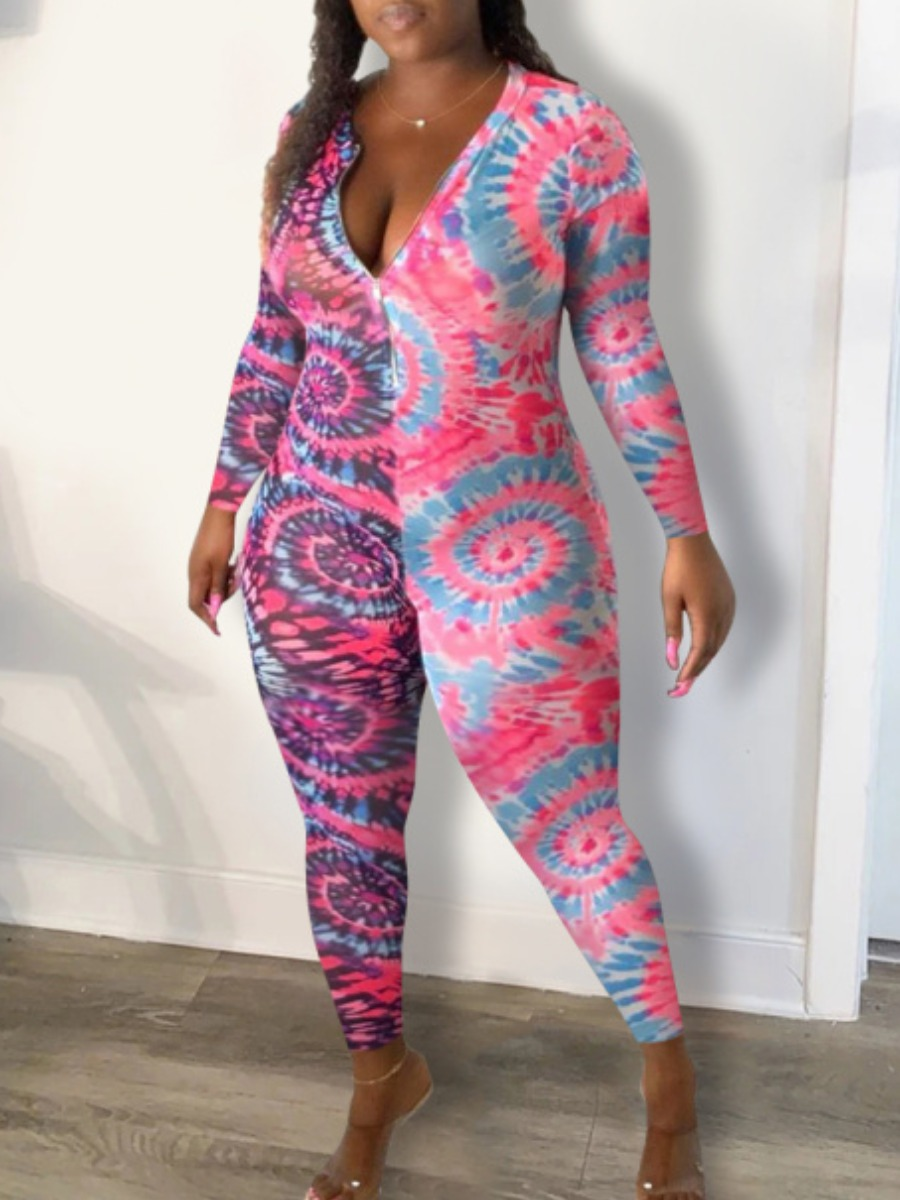 Lovely Stylish Zipper Design Tie-dye Pink One-piece Jumpsuit(Batch Print) фото