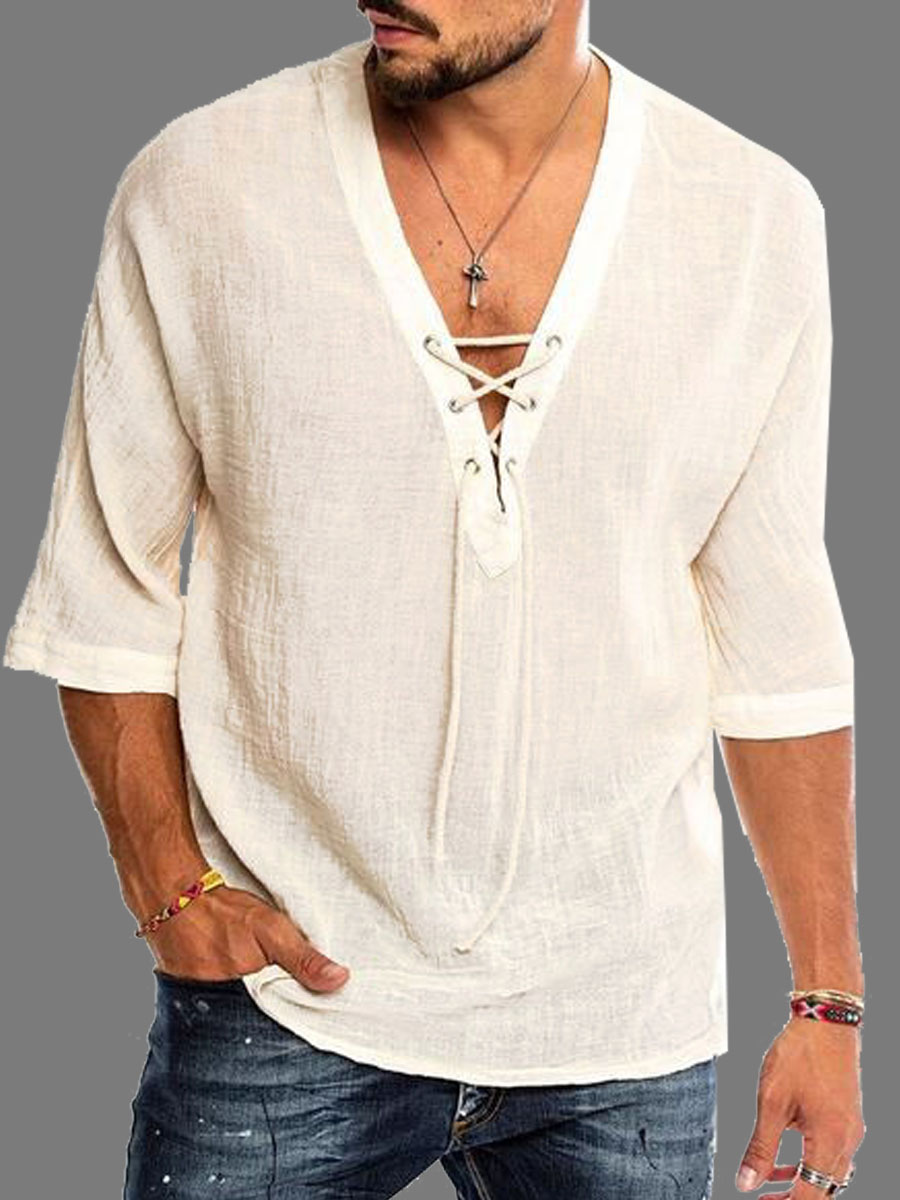 lovely Casual V Neck Bandage Design White Men Shirt