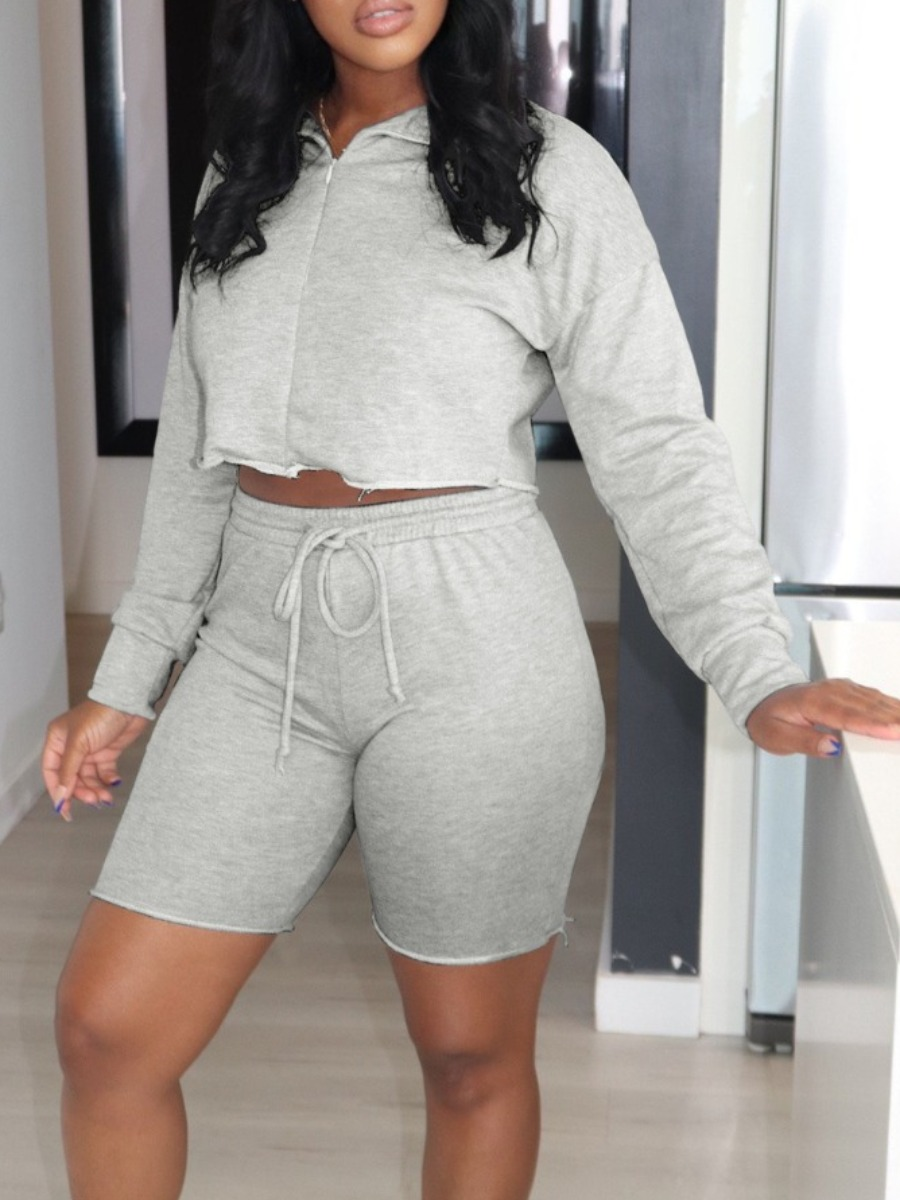 Two-piece Shorts Set lovely Sportswear Zipper Design Drawstring Grey Two Piece Shorts Set фото