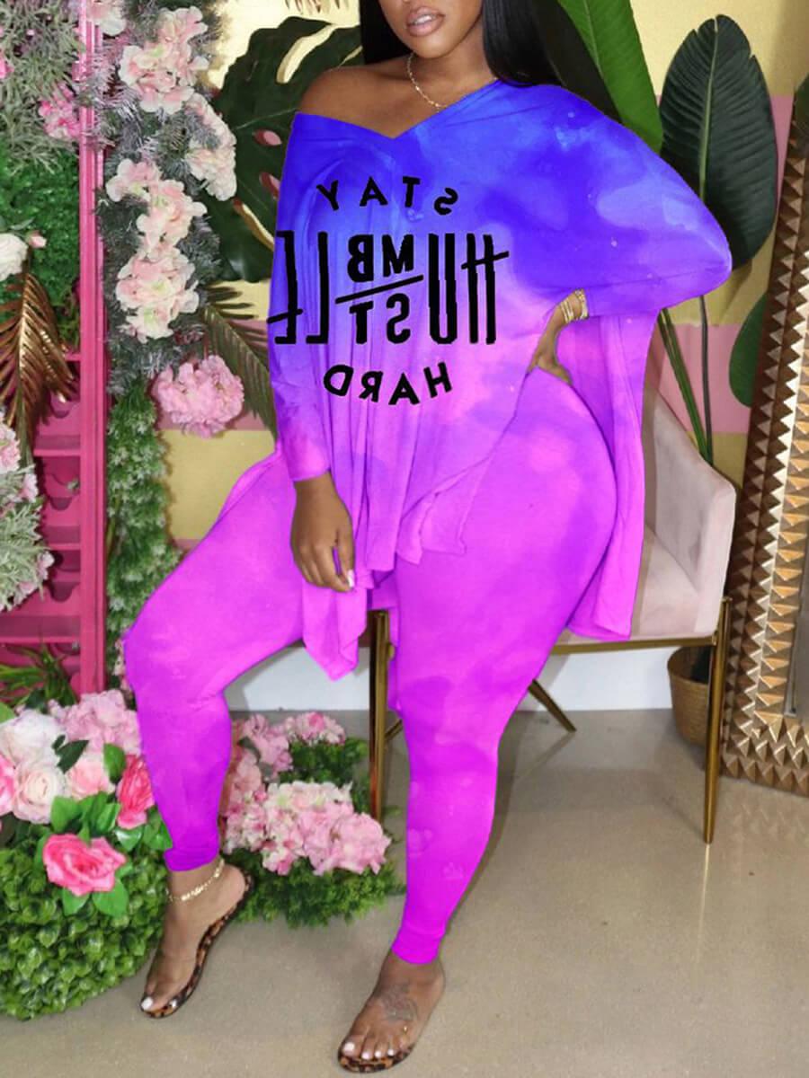 Lovely Casual V Neck Letter Print Purple Plus Size Two-piece Pants Set фото