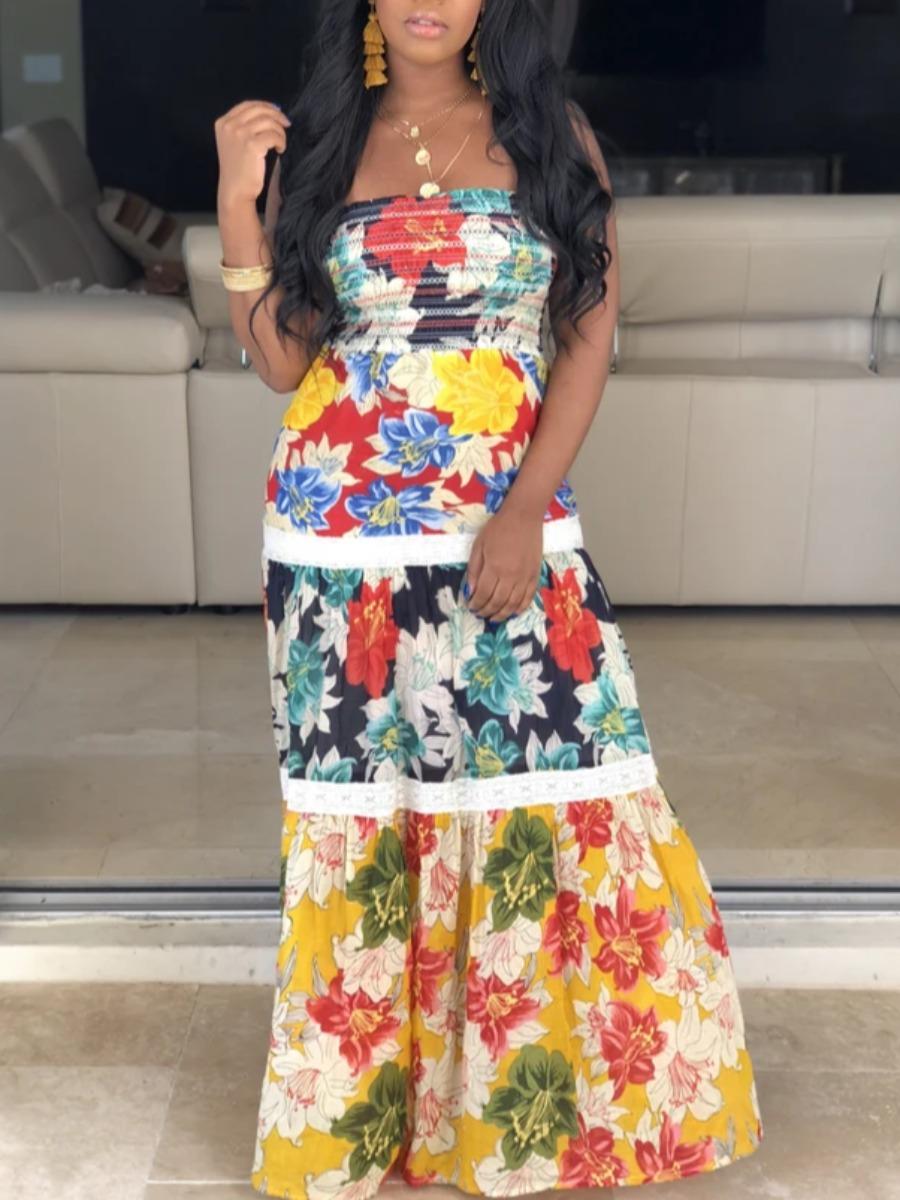 Lovely Bohemian Dew Shoulder Print Patchwork Multicolor Maxi Dress фото