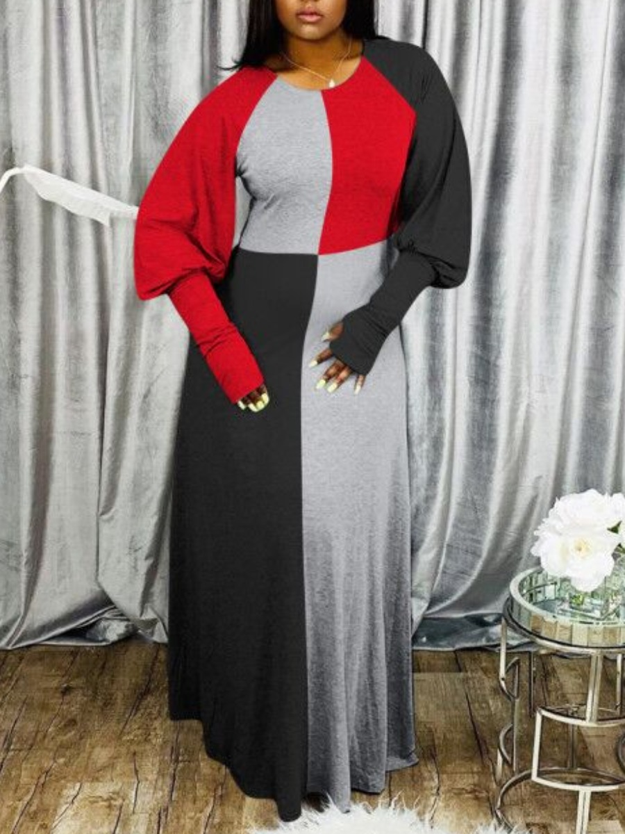 Lovely Casual O Neck Color-lump Patchwork Red Maxi Dress фото