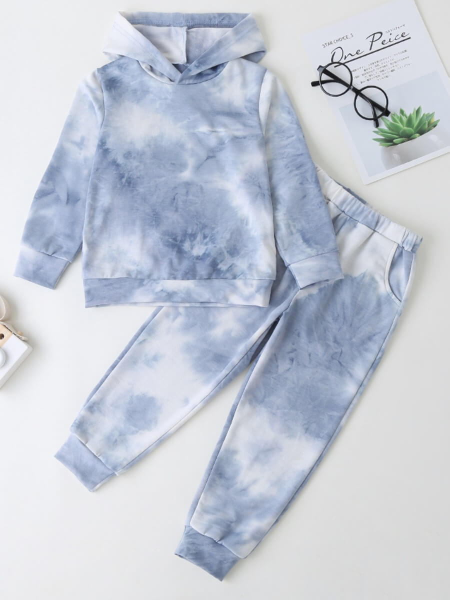 Girls Two-piece Pants Set lovely Casual Hooded Collar Tie-dye Baby Blue Girl Two-piece Pants Set фото