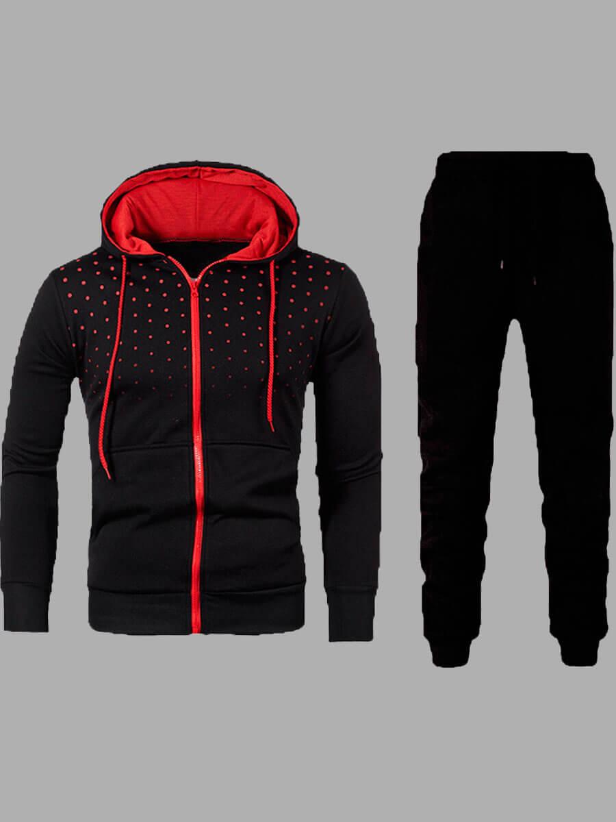 LW Sportswear Hooded Collar Zipper Design Black Men Two-piece Pants Set
