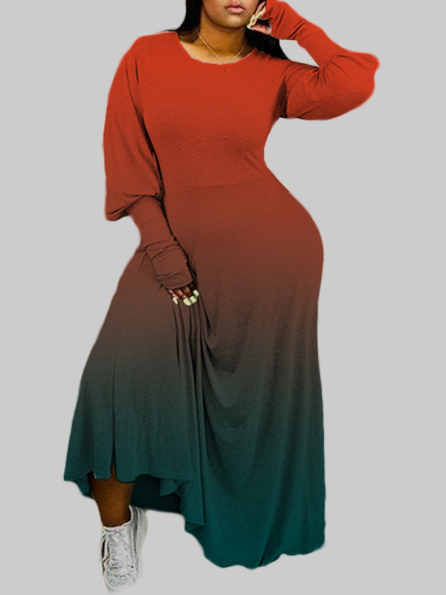 Lovely Trendy O Neck Gradient Wine Red Ankle Length Plus Size Dress фото