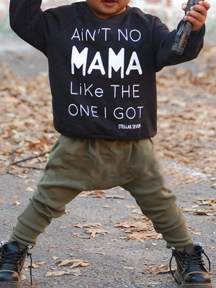 Boys Two-piece Pants Set lovely Casual O Neck Leopard Print Black Boy Two-piece Pants Set фото