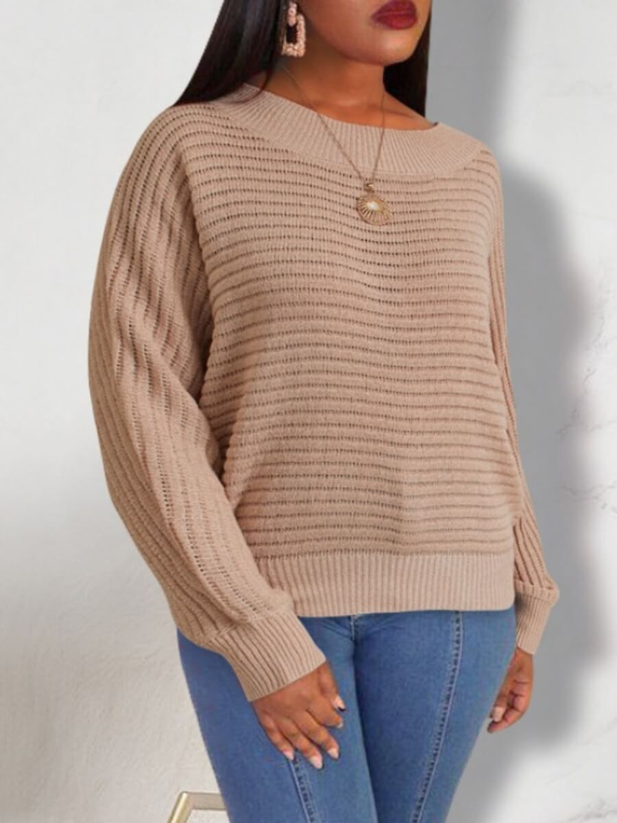 Sweaters & Cardigans lovely Casual O Neck Striped Light Pink Sweater фото