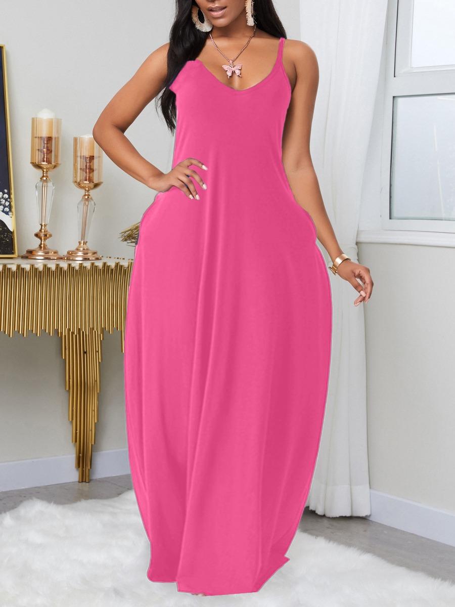 LW BASICS Plus Size Leisure Pocket Patched PinkMaxi Dress