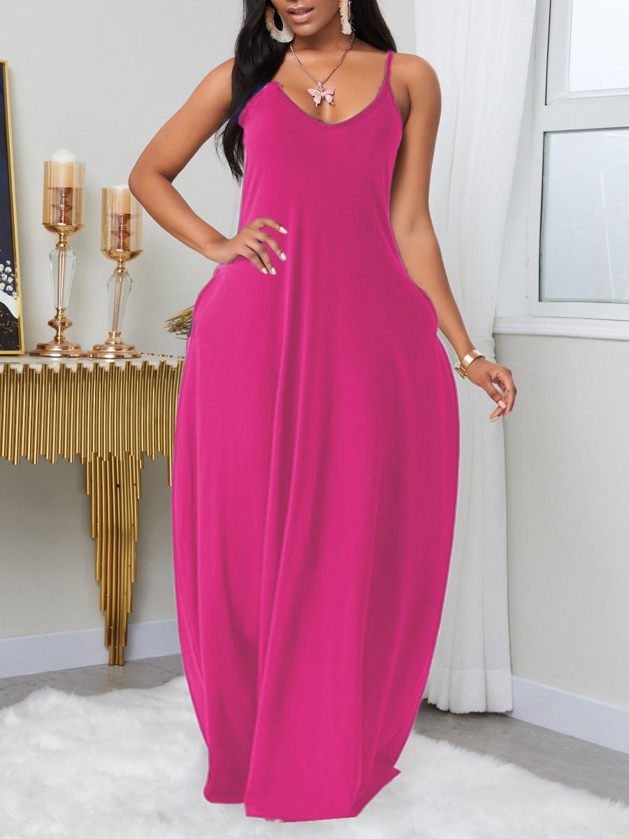 LW BASIC Plus Size Leisure Pocket Patched JacinthMaxi Dress
