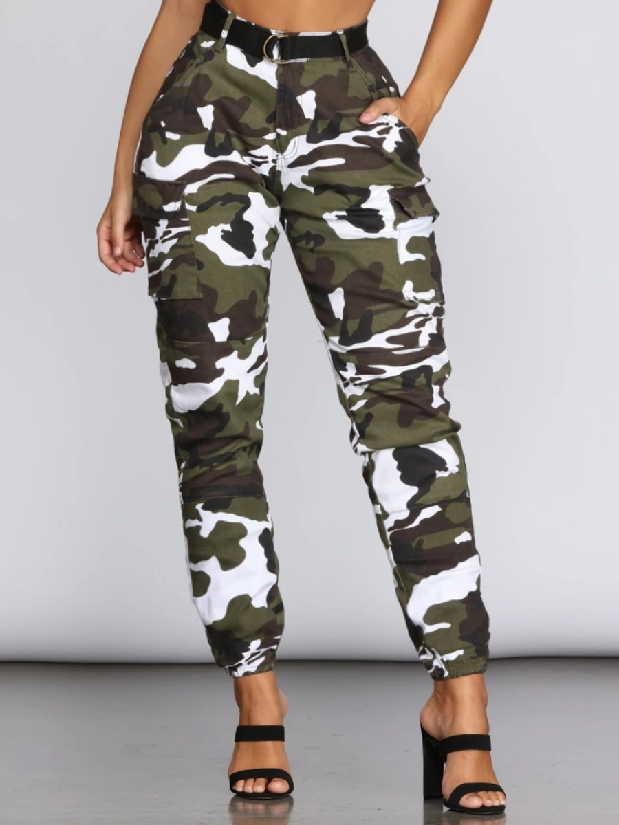 lovelywholesale / Lovely Casual Camo Print White Jeans